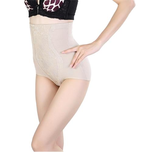 Sexy Floral Lace High Waist Shapewear Brief Apricot