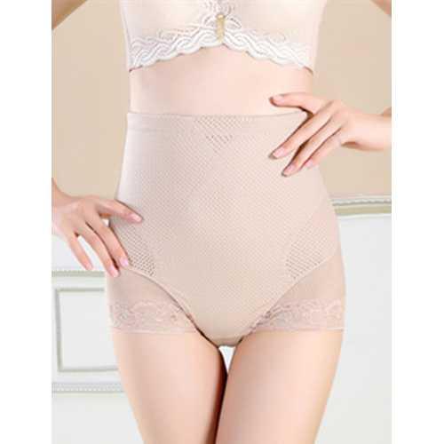 Women's Tummy Control Panties Lace Trim Sheer High Waist Brief Shapewear Apricot
