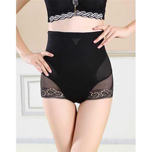 Women's Tummy Control Panties Lace Trim Sheer High Waist Brief Shapewear Black