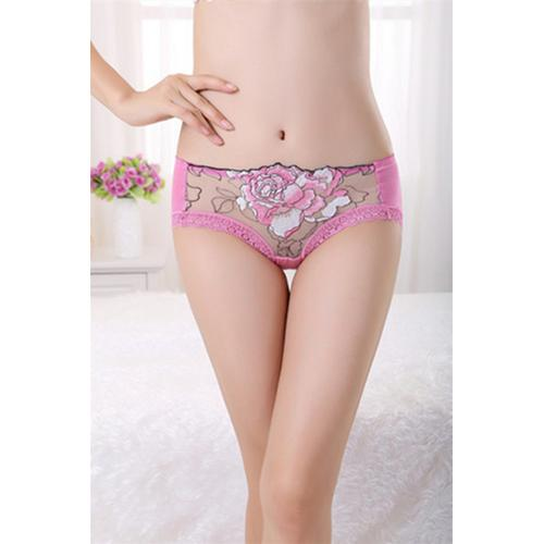 Wholesale Sexy Women Floral Print Panties Pink