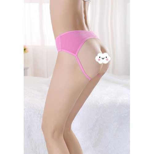 Sultry Seductive Women Pink Open Crotch Panties