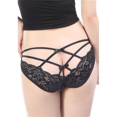 Sexy Bandeau Lace Embroider Panty Black