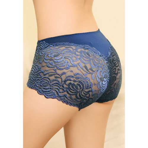 Blue Floral Lace High Waist Lifter Panty