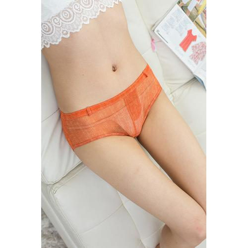 Sensual Women Faux Denim Panties Orange