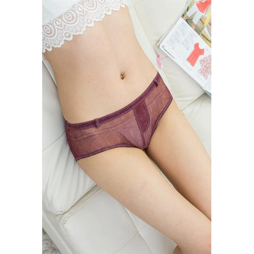Sensual Women Faux Denim Panties Wine Red