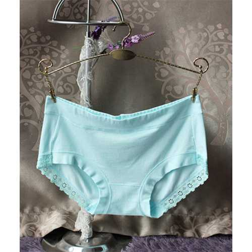 Womens Comfort Middle Waist Bamboo Fiber Brief Panty Light Blue