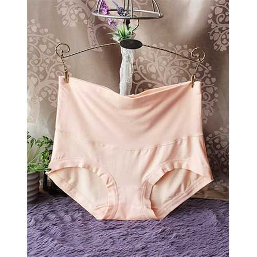 Womens Comfort High Waist Bamboo Fiber Brief Panty Apricot