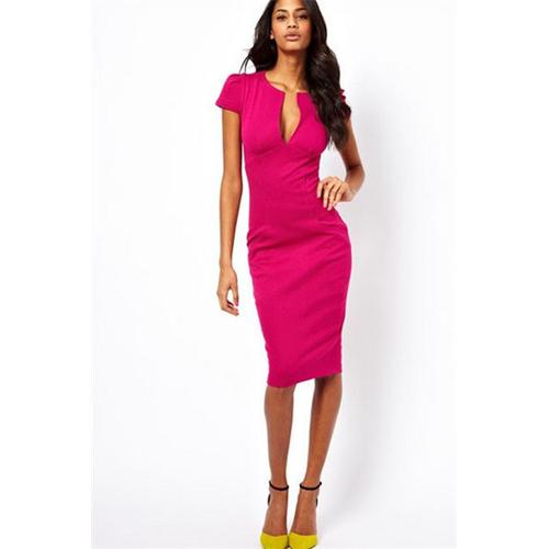Rose Fashion Women Short-sleeve V Neck Midi Dress