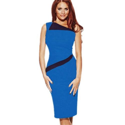 Blue Women's Sleeveless Splicing Midi Dress with Black Peter Pan Collar