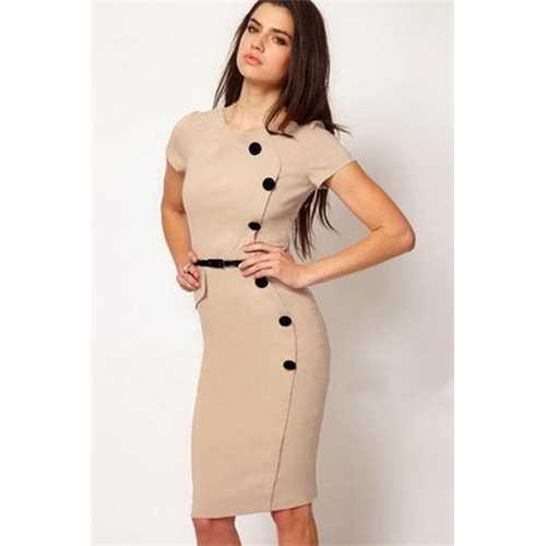 Khaki Fashion Slimming Midi Dress with Buttons