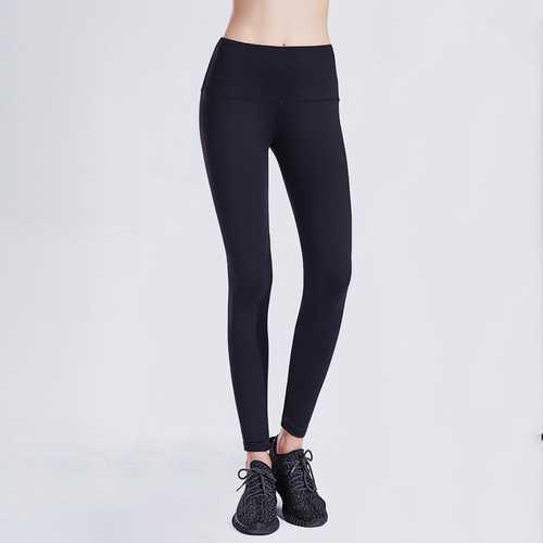 Solid Black Women Sport Yoga Pants Leggings
