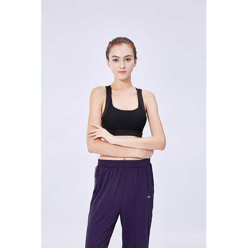 Black Sports Bra Gathered Yoga Fitness Beauty Back Vest-Style Sports Women Bra