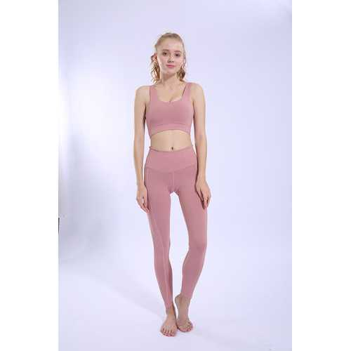 Pink Running Sports Fitness Pants Tight Stretch High Waist Breathable Yoga Pants