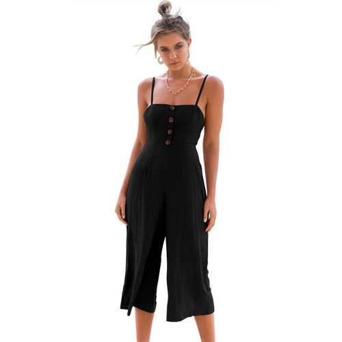 Thin Shoulder Straps And Cropprd Trouser Jumpauit With Button Decorated At Front Black