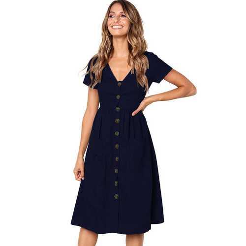 Women V-neck with Button Pocket Summer Short-sleeved Midi Dress Dark Blue