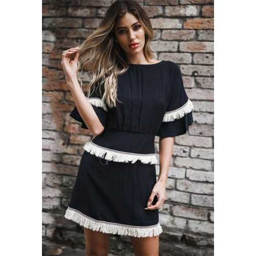 O Neck Mini Dress With Falbala Sleeve And Tassel Decorated