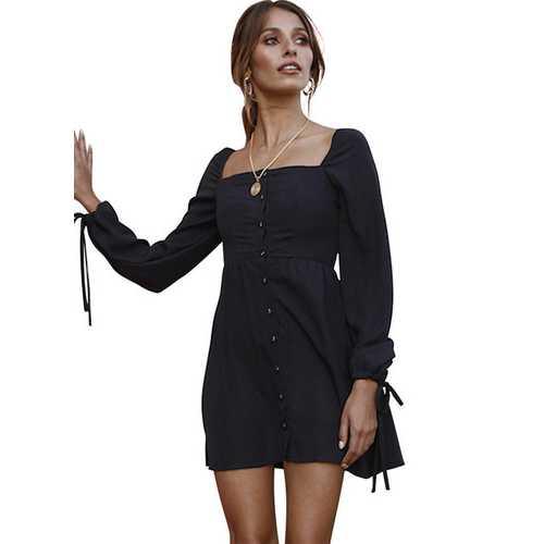 Women Square Collar Buttoned Cuff Tie Dress Midi Dress Black