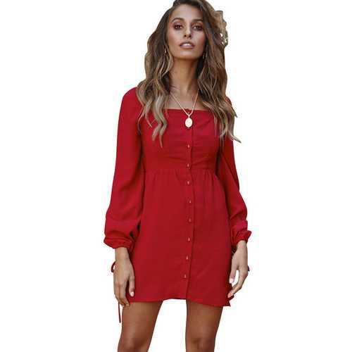 Women Square Collar Buttoned Cuff Tie Dress Midi Dress Red