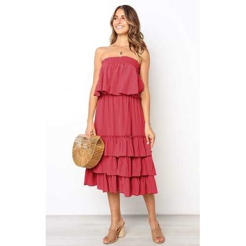 Women Red Sleeveless 2pcs Sweetheart Layered Dress
