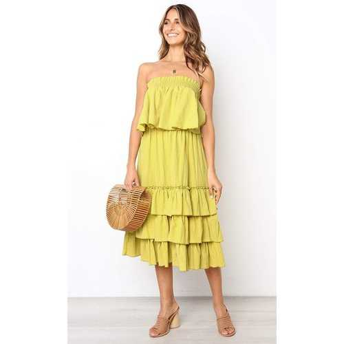 Women Yellow Sleeveless 2pcs Sweetheart Layered Dress