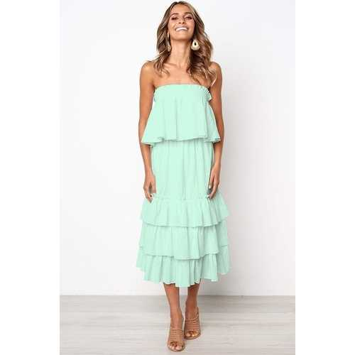 Women Light Green Sleeveless 2pcs Sweetheart Layered Dress