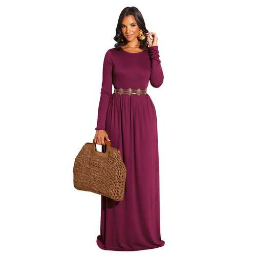 Wine Red Long Sleeve O-Neck Casual Maxi Dress( Not including the waistband)