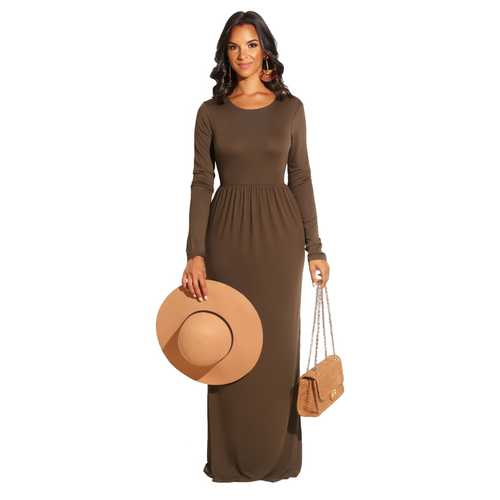 Brown Long Sleeve O-Neck Casual Maxi Dress( Not including the waistband)