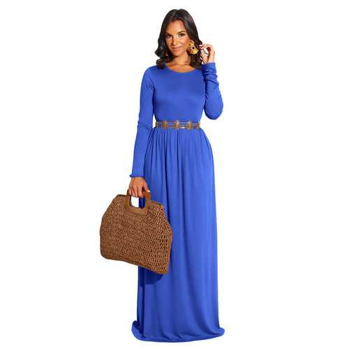 Blue Long Sleeve O-Neck Casual Maxi Dress( Not including the waistband)