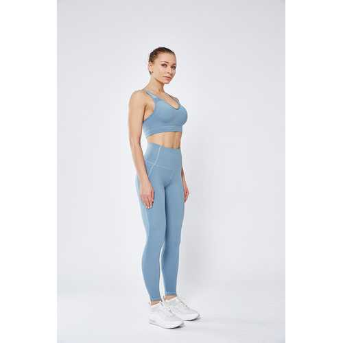 Light Blue Women Mesh Splicing Sport Yoga Pants with Pocket High-waist Leggings