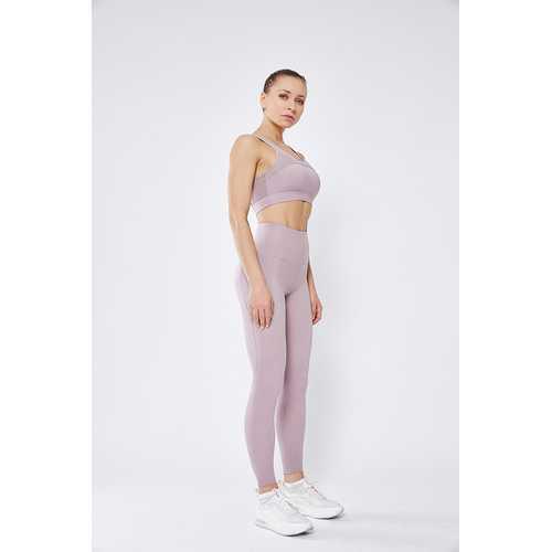 Light Pueple Women Mesh Splicing Sport Yoga Pants  with Pocket  High-waist Leggings