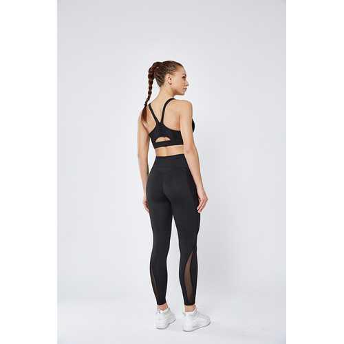Black Women Mesh Splicing Sport Yoga Pants  with Pocket  High-waist Leggings