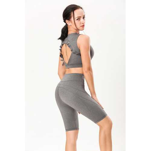 Gray Double-Sided Sanding Nude Yoga Five-Pants Women High-Waist Hip Fitness Pants Tight Yoga Pants