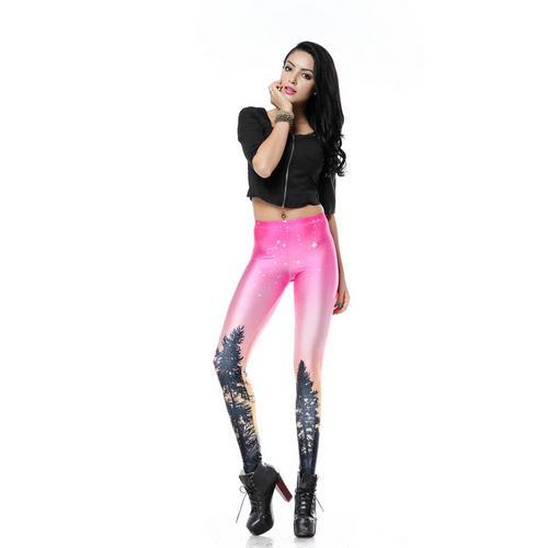 Pink aurora sky orange legging