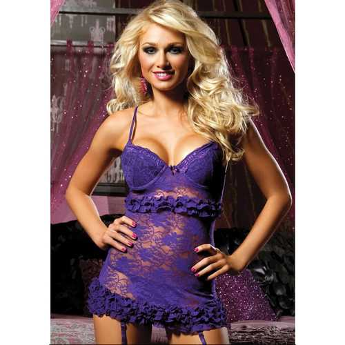 Victorian Sexy Lace Babydoll Purple