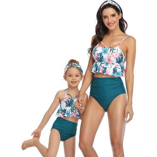 Floral Printed Top and Solid Bottom High Waist swimwear Set Dark Green