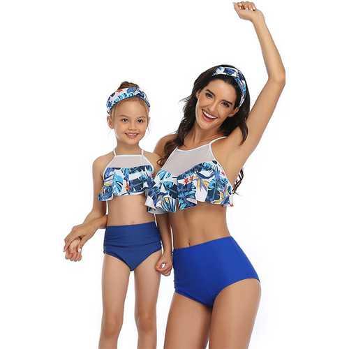 Blue Printed Top and Solid Bottom High Waist Swimwear Set