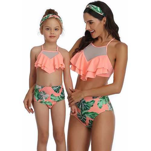 Orange Floral Printed Bottom and Ruffled Top High Waist Swimwear Set