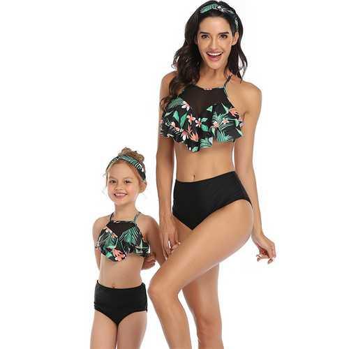 Floral Printed Ruffles Top and Black Solid Bottom High Waist Swimwear Set