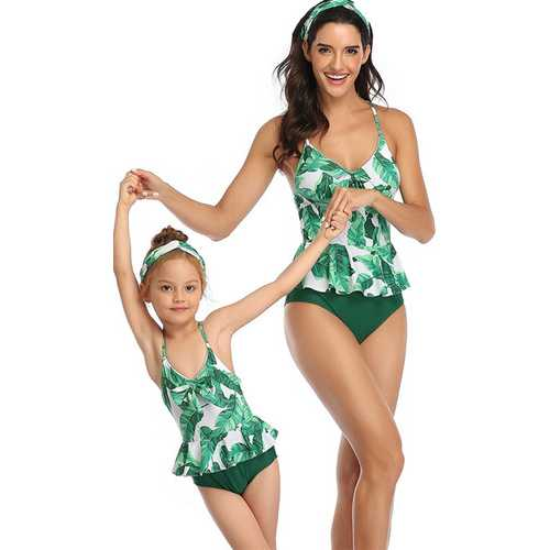 Green Floral Printed Strappy Front Knot One Piece Swimsuit