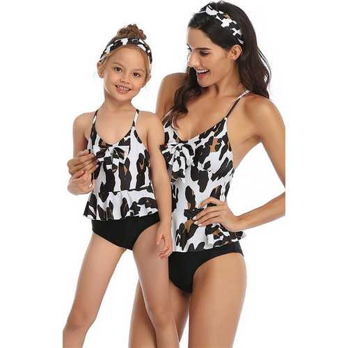 Black Floral Printed Strappy Front Knot One Piece Swimsuit