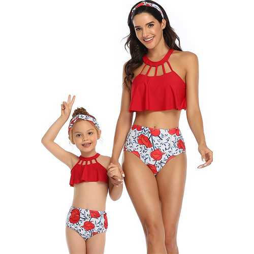 Red Solid Front Hollow Out Top Floral Printed Bottom Two Piece Swimsuit