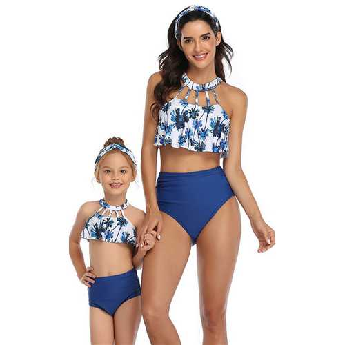 Blue Solid Bottom  Front Hollow Out  Floral Printed Top Two Piece Swimsuit