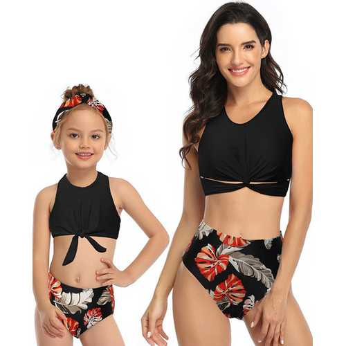 Black Front Knot Vest Floral Printed Bottom Two Piece Swimsuit