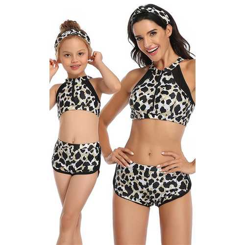 Leopard Printed Front Zipper and mesh Two Piece Swimsuit