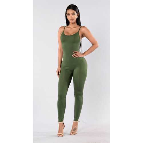 Women Spaghetti Strap Bodycon Tank One Piece Jumpsuits Army Green