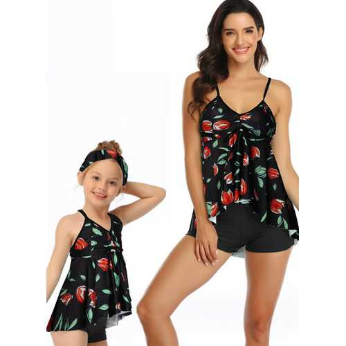 Multi-color V-neck Halter Strap Rose Print Matching Swimwear Black