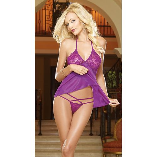 Women's adult  mesh   fashionable babydoll purple