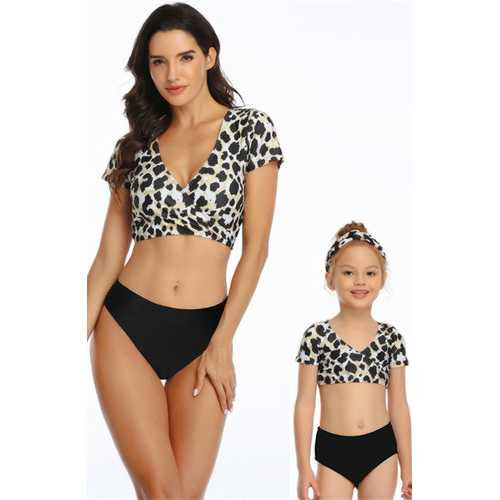 V-neck Leopard  Short Sleeve Top and Black Solid Bottom Swimsuit Set