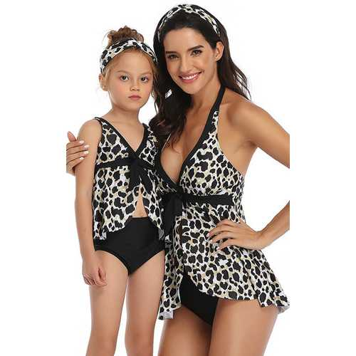 Black Leopard Printed Front Knot Bow and Solid Bottom Swimsuit