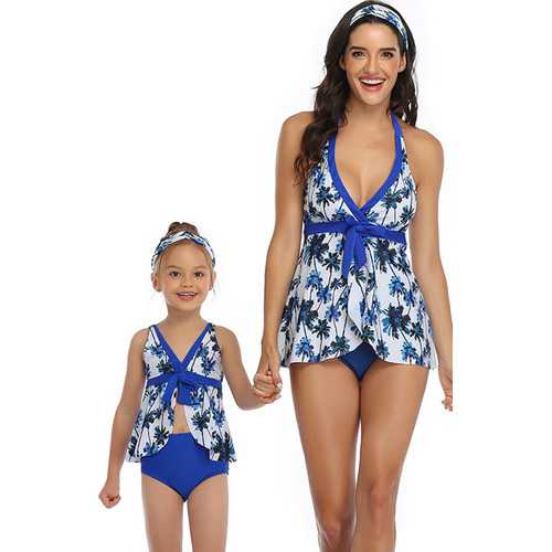 Blue Printed Front Knot Bow and Solid Bottom Swimsuit